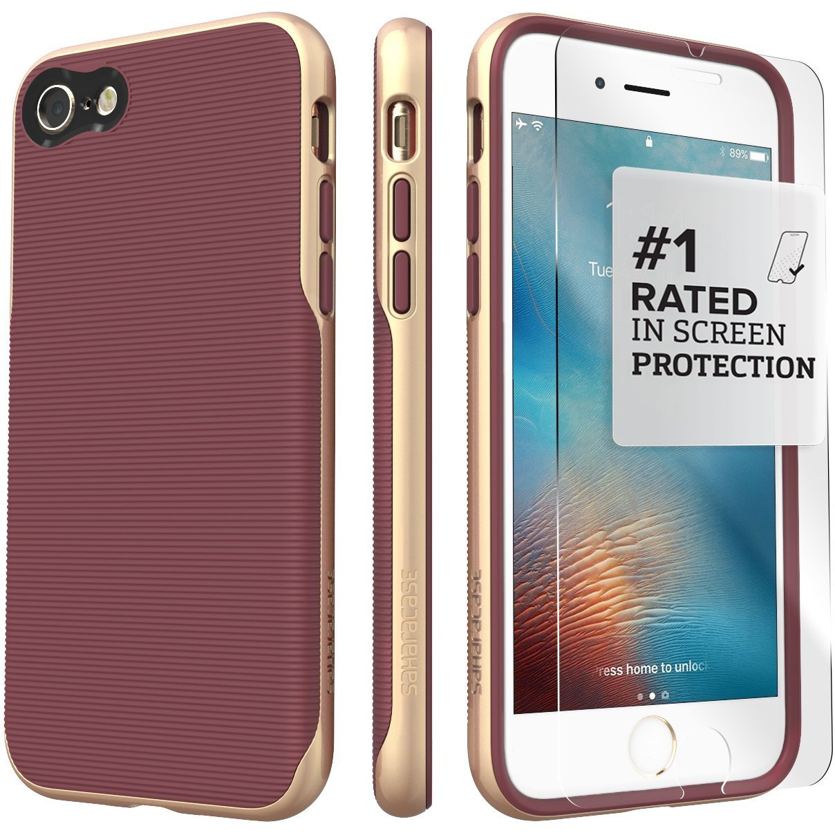 iPhone 8 Case and 7 Case, SaharaCase Trend Series Protection Kit Bundle with [ZeroDamage Tempered Glass Screen Protector] Fashion Design [Shockproof Bumper] Slim Fit - Gold Plum
