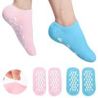 Moisturizing Gel Socks, Ultra-Soft Original Gel Socks Moisturizing Socks, Spa Gel Soften Socks for Dry Cracked Feet Skins, Gel Lining Infused with Essential Oils and Vitamins (2 Pair Blue&Pink)