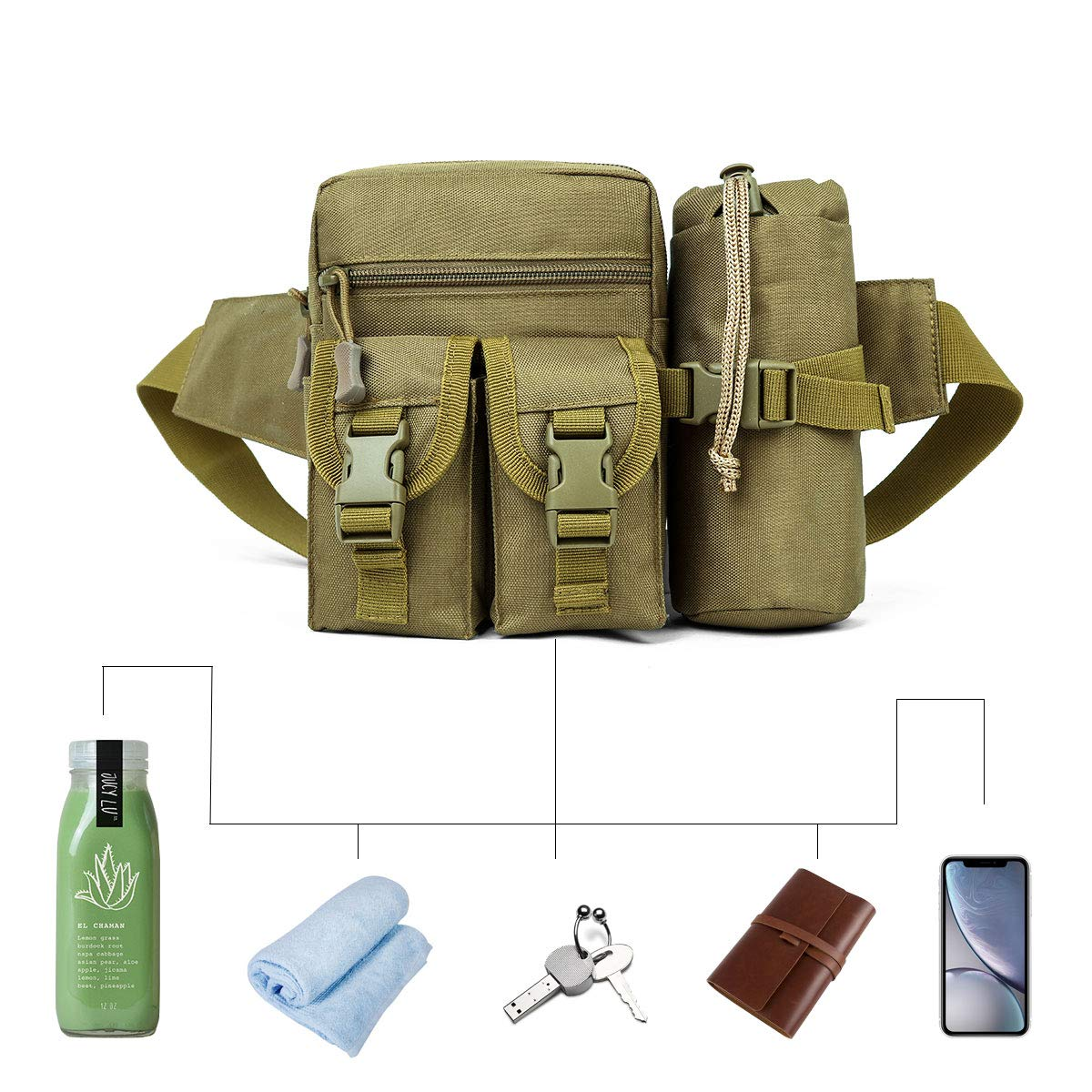 Ationgle Tactical Waist Pack Portable Fanny Pack Outdoor Hiking Travel Large Army Waist Bag Military Waist Pack for Daily Life Cycling Camping Hiking Hunting Fishing Shopping