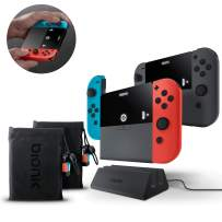 Bionik Power Plate Duo Charging Grips: Compatible with Nintendo Switch, 2 Slim 5500 mAh Battery Packs, Recharge Switch or 2 Joy Cons 3 Times, Dual Charging Dock, 2 Carrying Bags, 2 USB C Adapters