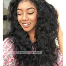 Premier Silk Top Lace Front Wigs Brazilian Remy Human Hair Loose Curly Wave Wigs for Black Woman with Baby Hair 20 Inches Natural Color Wigs 140% Density