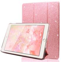 "FANSONG iPad 9.7 2018/2017 Case, Bling Glitter PU Leather Magnetic Flip Trifold Stand Cover Sparkle Auto Sleep/Wake Lightweight Ultra Thin Case for Apple iPad Air / Air2 9.7"" (Pink)"