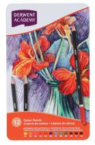 Derwent Academy Colored Pencils, 2.9mm Core, Metal Tin, 12 Count (2301937)