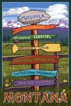 Missoula, Montana - Destination Signpost 73485 (12x18 SIGNED Print Master Art Print - Wall Decor Poster)