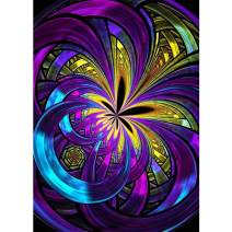 5D Full Drill Diamond Painting Purple Abstract Flower by Number Kits for Adults, SKRYUIE DIY Rhinestone Pasted Paint with Diamond Set Arts Craft Decorations (12x16inch)