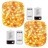 FOXCESD 2 Pack 33 ft LED String Lights Battery Powered Dimmable with Remote Control Waterproof Decorative Copper Wire Fairy Lights for Bedroom Patio Garden Yard Party Christmas (Warm White)