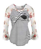 NIPINUS Women's Long Sleeve Maternity Nursing Tops Striped Breastfeeding T-Shirt