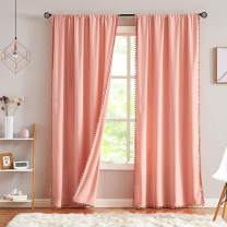 "Pompom Velvet Curtains for Bedroom 95"" Blush Pink Window Curtain Set Decorative Room Darkening Drapes Cotton Feel Soft 2Panels 42"" w"