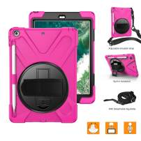 BRAECNstock iPad 9.7 Case 2018/2017, [Pencil Holder] [Rotating Hand Strap/Kickstand] [Carrying Shoulder Strap] Heavy Duty Shockproof Case for iPad 9.7 inch A1893 A1954 A1822 A1823 (Rose red)