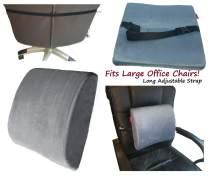 Adjustable Strap Lumbar Back Cushion and Seat Cushion: Back Support Pillow Memory Foam Car Office Chair (Grey Cushion)