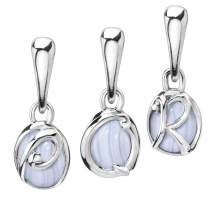 Carolyn Pollack Sterling Silver Blue Lace Agate Love Letter Initials A - Z Charms