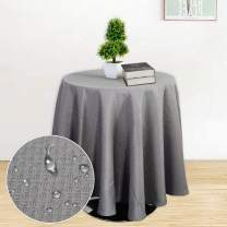 Haperlare Gray Tablecloth, 70 Inch Round Waffle Woven Fabric Table Cloth, Water-Repellent and Stain Resistant Table Cover for Buffet Table, Parties, Gray