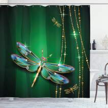 "Ambesonne Dragonfly Shower Curtain, Vivids in Gemstone Crystal Diamond Shapes Graphic Effects, Cloth Fabric Bathroom Decor Set with Hooks, 84"" Long Extra, Hunter Green"