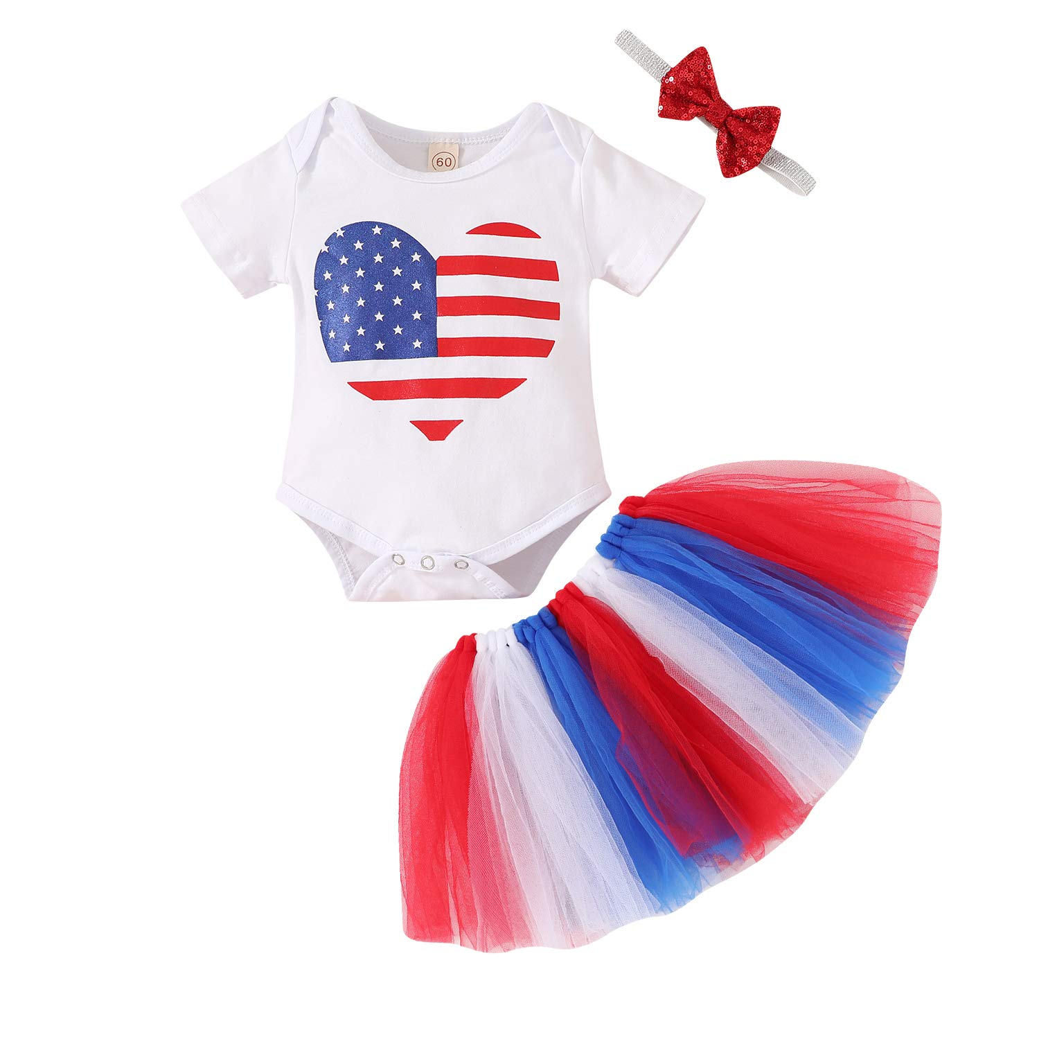 Newborn Baby Girl 4th of July Outfits Letter Printed Short Sleeve Romper+Tutu Skirt+Headbands 3PCS Infant Clothes Set
