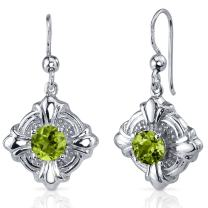 Peora Peridot Dangle Earrings Sterling Silver Victorian Style