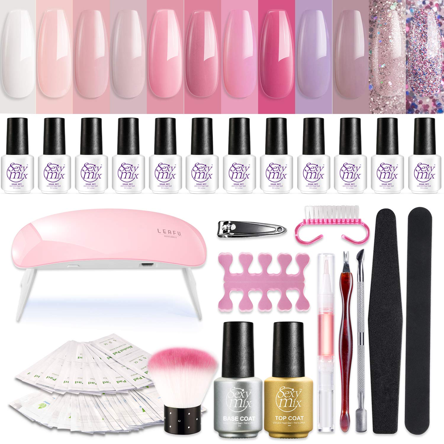 SEXY MIX Gel Nail Polish Starter Kit with UV Light, with Mini 12 Lovely Pink Colors Soak Off Gel Nail Polish, Base and Top Coat, Nail Art Manicure Tools Kit