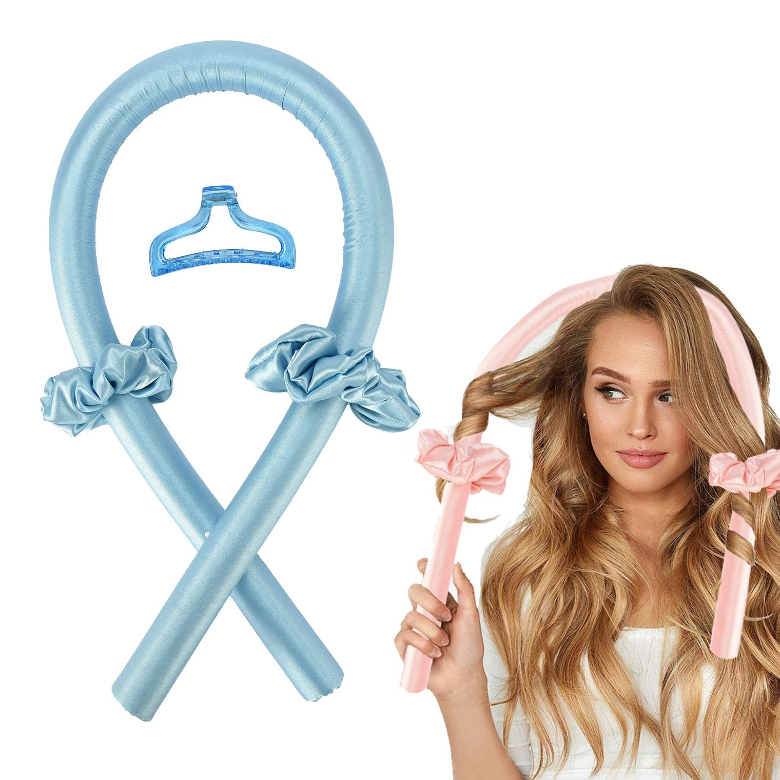 Women Heatless Hair Curlers For Long Hair, No Heat Silk Curls Headband You Can To Sleep In Overnight, Soft Foam Hair Rollers, Curling Ribbon and Flexi Rods for Natural Hair (Blue)