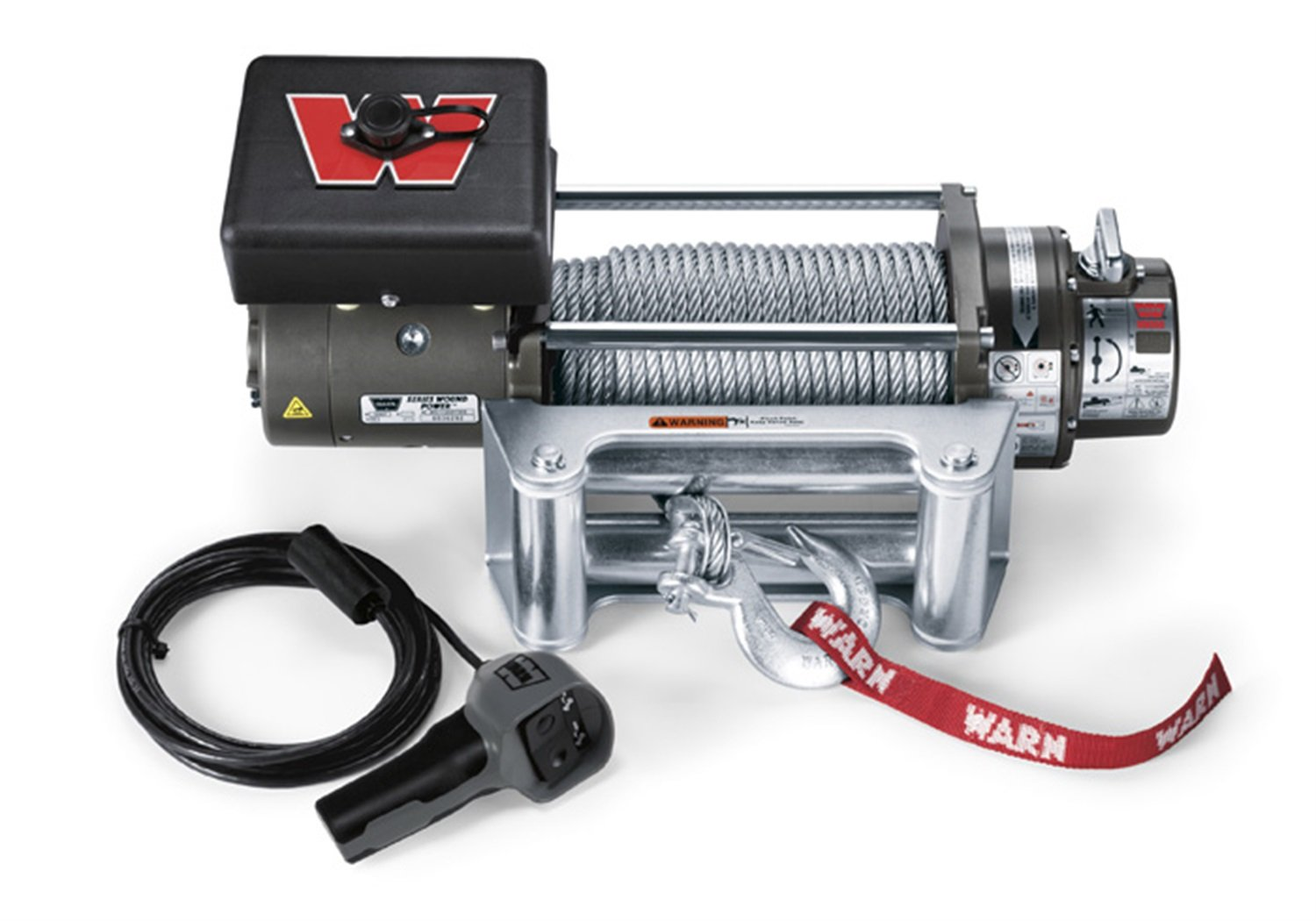 "WARN 26502 M8000 Series Electric 12V Winch with Steel Cable Wire Rope: 5/16"" Diameter x 100' Length, 4 Ton (8,000 lb) Pulling Capacity"
