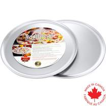Crown Pizza Pans 14 inch, 2 Pack, Heavy Duty, Rust Free, Even Heat Distribution, Pure Aluminum