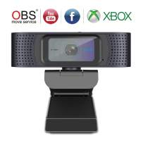 Webcam with Cover Slide, USB Computer Web Camera, HD Webcam 1080P with Microphones, Autofocus Streaming Camera for Gaming Conferencing Mac Windows Xbox OBS Twitch YouTube