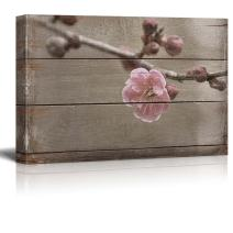 wall26 Cherry Blossom just as it Opens - Rustic Floral Arrangements - Pastels Colorful Beautiful - Wood Grain Antique - Canvas Art Home Decor - 16x24 inches