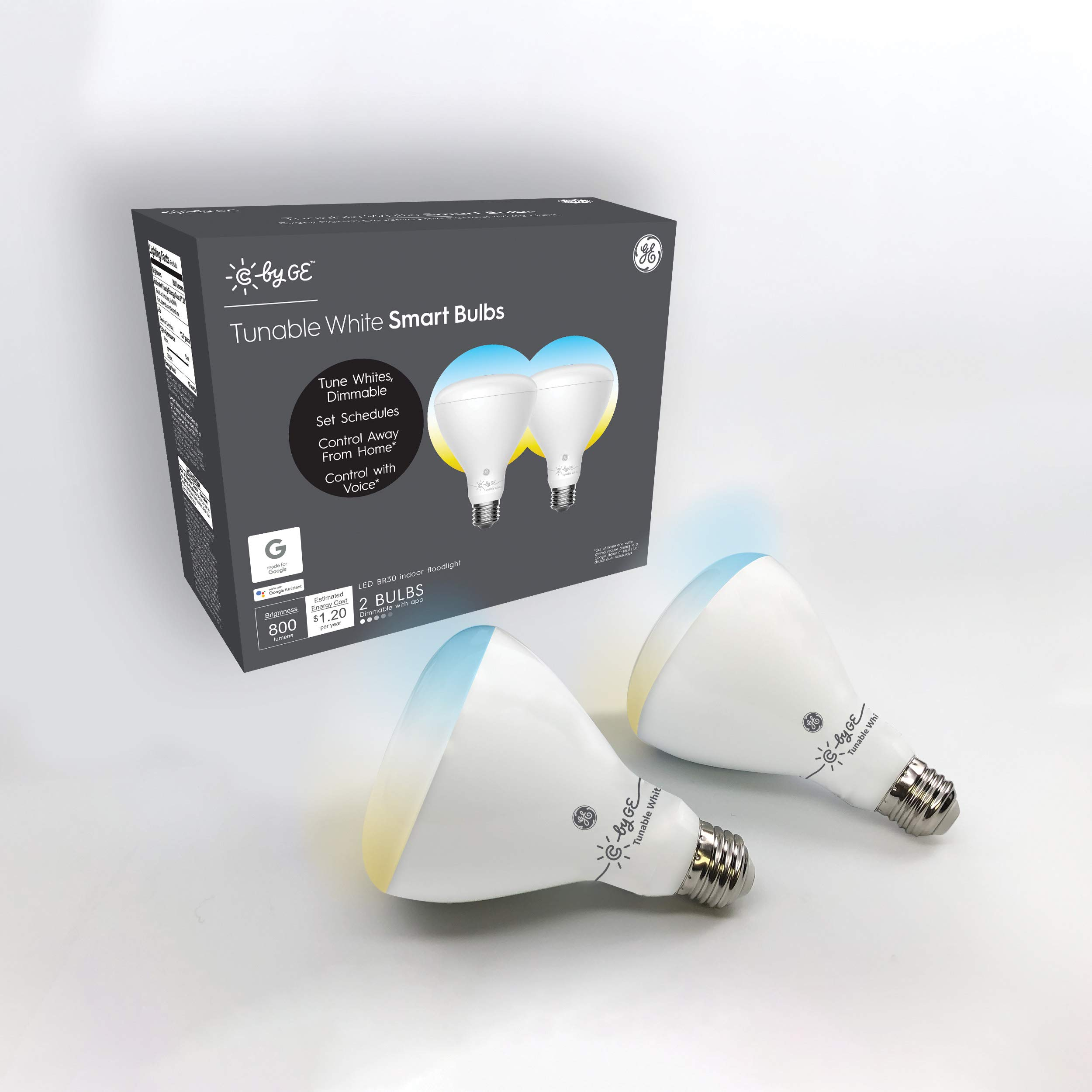 C by GE BR30 Smart Light Bulb - Tunable White Light Bulb, 2-Pack, Works with Amazon Alexa and Google Home, Bluetooth Light Bulb