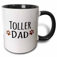 3dRose Toller Dog Dad Mug, 11 oz, Black