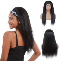 Kinky Straight Headband Wig For Black Women Yaki Human Hair Blend Wigs None Lace Front Wigs Silky Machine Made Wig Glueless Natural Color Costume Wigs 150% Density 20 Inches