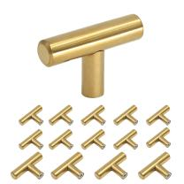 homdiy Gold Cabinet Knobs 15 Pack Cabinet Hardware Knobs Polished Brass - HD201PB Single Hole T Knob with 2in Overall Length Drawer Pulls and Knobs Gold