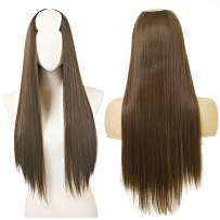 """Clip in Hair Extension Brown Straight Long Thick Full Head One Piece U shape 24"""" 0.37lb 170g Synthetic Hairpiece For Women Natural Real Hair Piece Japan High Temperature Fiber(UH16#8)"""