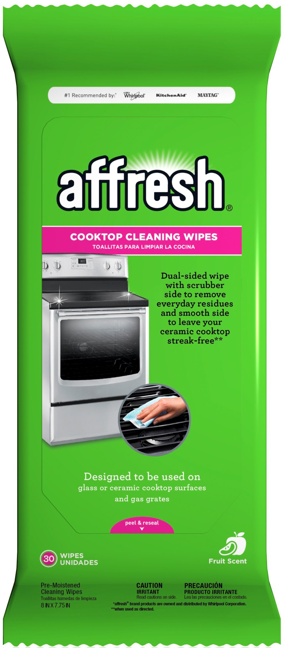 Affresh W10539770 Cooktop Cleaning Wipes, 1 Pack, 30 Piece