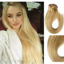 Munx 18 Inch Balayage Clip in 100% Human Hair Extensions Double Weft Full Head Hair Extension Straight Thick Clip Ins Highlight Blonde Clip on Virgin Real Hair Extension 7Pcs 120G for White Women
