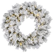 "Vickerman 30"" Flocked Snow Ridge Wreath with 50 Warm White LED lights"
