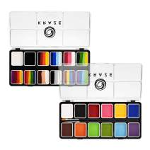 Kraze FX 12 Color Face Paint Palette Set Of 2 - Fundamentals & Splash, Value Pack of Basic Solid Colors & Fun Split Cakes Palette with Brushes, Professional Face Painting Starter Kit