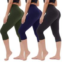 TNNZEET High Waisted Capri Leggings for Women - Soft Tummy Control Slim Exercise Pants for Yoga Workout - Regular & Plus Size