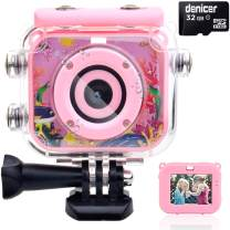 denicer Waterproof Children's Camera with 2.0 Inch HD Display 12MP HD Kids Underwater Camera Camcorder with 32G SD Card for 4-12 Girls Christmas/Birthday Gift-Pn