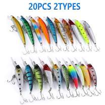 Abewoo Fishing Lure Set Topwater Fishing Lures 20pcs 2 Types Pencil Lure Minnow Lure Lightweight with Treble Hook Built-in Steel Ball Hard Bait for Bass Trout Walleye and More