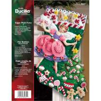 Bucilla Sugar Plum Fairy Christmas Stocking Felt Applique Kit, 85431 18-Inch