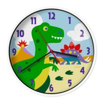 Wildkin Kids Wall Clock for Boys and Girls, Features Silent Quartz Movement, Glass and Durable Plastic Cover, Battery Not Included, Measures 12 x 1.63 x 12 Inches, BPA-free, Olive Kids (Dinosaur Land)