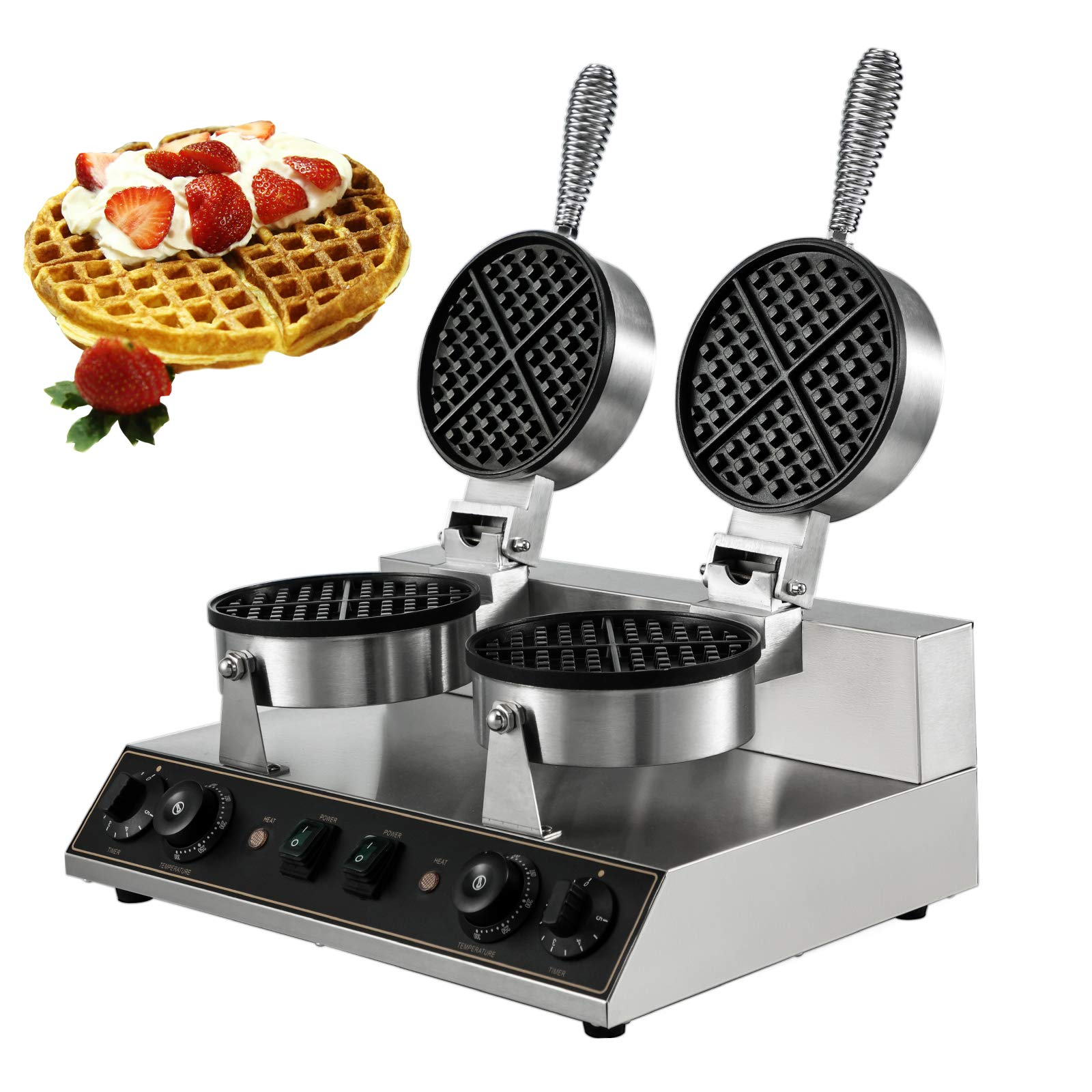 VBENLEM 110V Commercial Waffle Maker Nonstick 2400W Electric Waffle Machine Stainless Steel Temperature and Time Control Round Waffle Iron 8MM/0.32inch Deep Suitable for Restaurant Snack Bar
