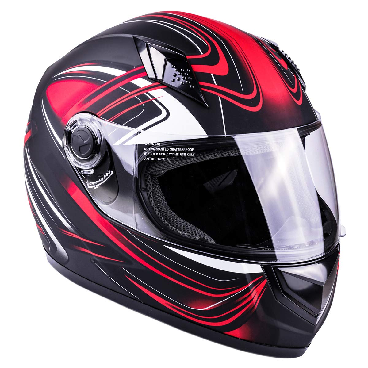 Typhoon Adult Full Face Motorcycle Helmet DOT - SAME DAY SHIPPING (Matte Red, XXXXL)