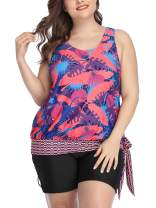 ALove Womens Tankini Top Plus Size Swimsuits Tropical Leaf Printed Bathing Suits