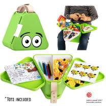 Teebee - Kids Travel Toy Box | Boys & Girls Snack + Activity Tray Table for Car Seat, Plane & Stroller - Storage Suitcase for Baby Tools - Play w. Included Bricks, Puzzle Book & Coloring Pens | Green