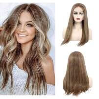 Pre Plucked Lace Front Wigs With Baby Hair Glueless Remy Straight Human Hair Wigs Ombre Blonde With Brown 150% Density For Black/White Women 14 inches