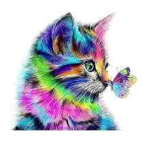 Diamond Painting Kits for Adults Kids,DIY 5D Full Drill Gem Art Paint Cat Kisses Butterfly HD Canvas Dots Diamond Art Craft Gift for Parlour New Home Wall Decor 12x12in