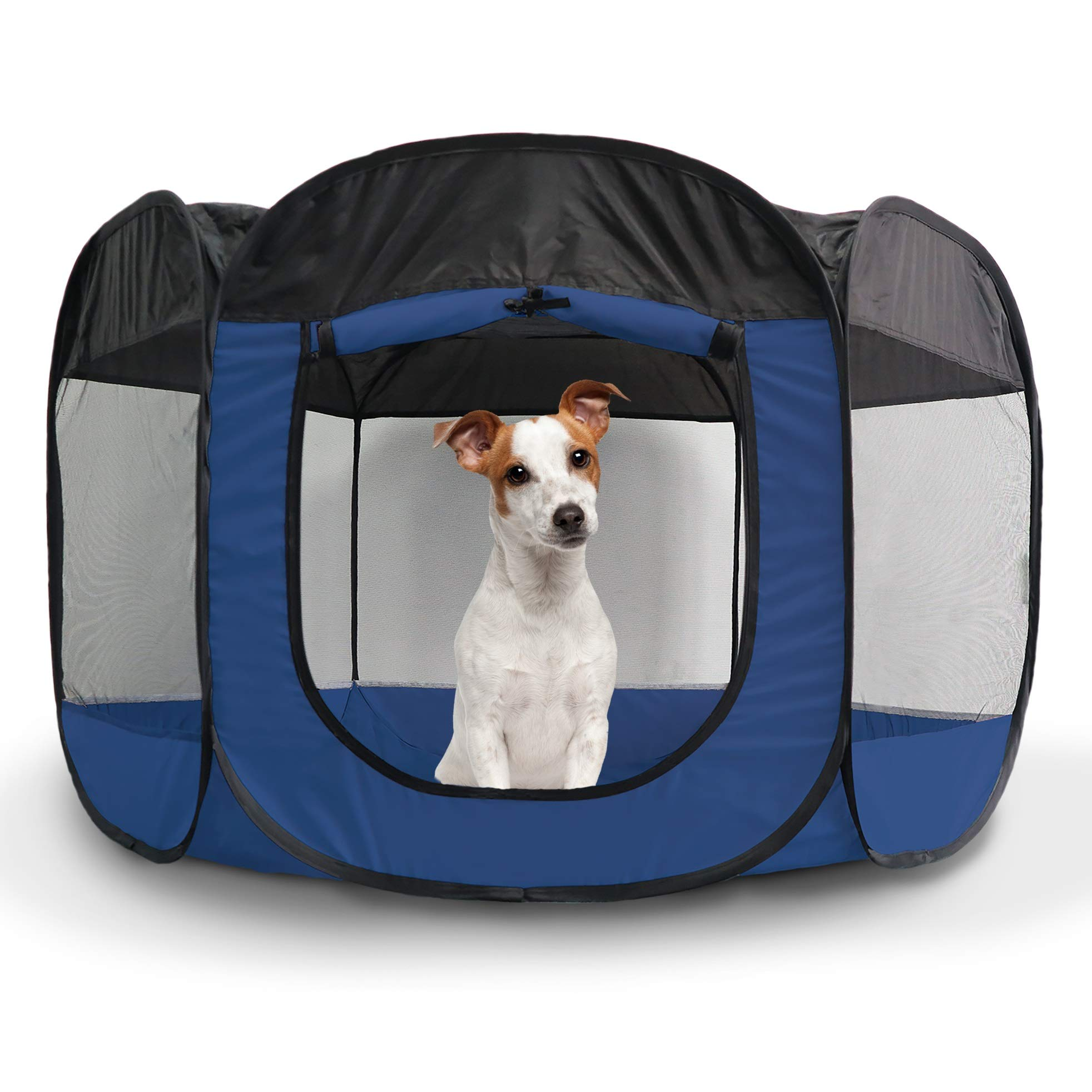 Furhaven Pet Playpen - Indoor/Outdoor Mesh Open-Air Playpen & Exercise Pen Tent House Playground for Dogs & Cats, Sailor Blue, Large