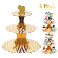 UltraOutlet Set of Three 3-Tier Cardboard Cupcake Stands, Disposable Paper Cupcake Holder Towers for Weddings, Birthday Parties, Baby Showers and Graduations, Gold Stripes
