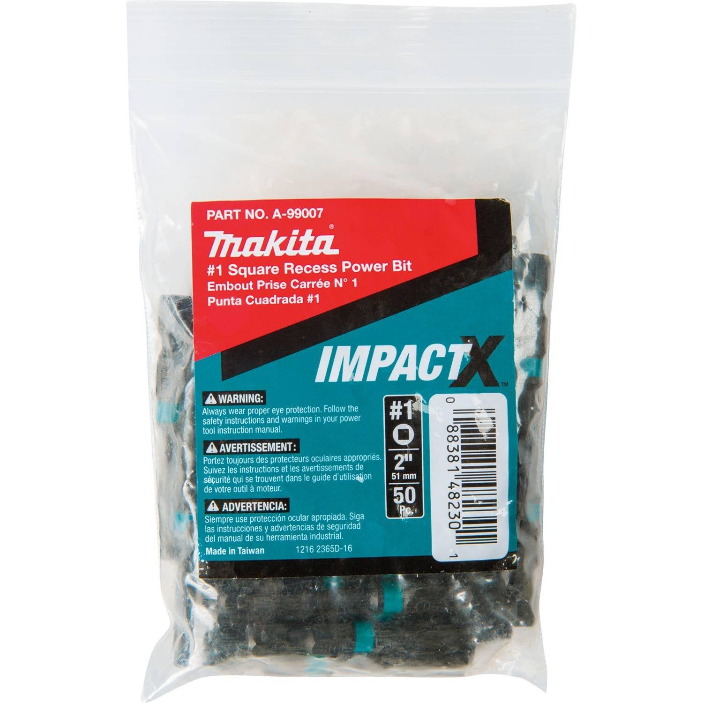 Makita A-99007 Impactx #1 Square Recess 2″ Power Bit, 50 Pack, Bulk
