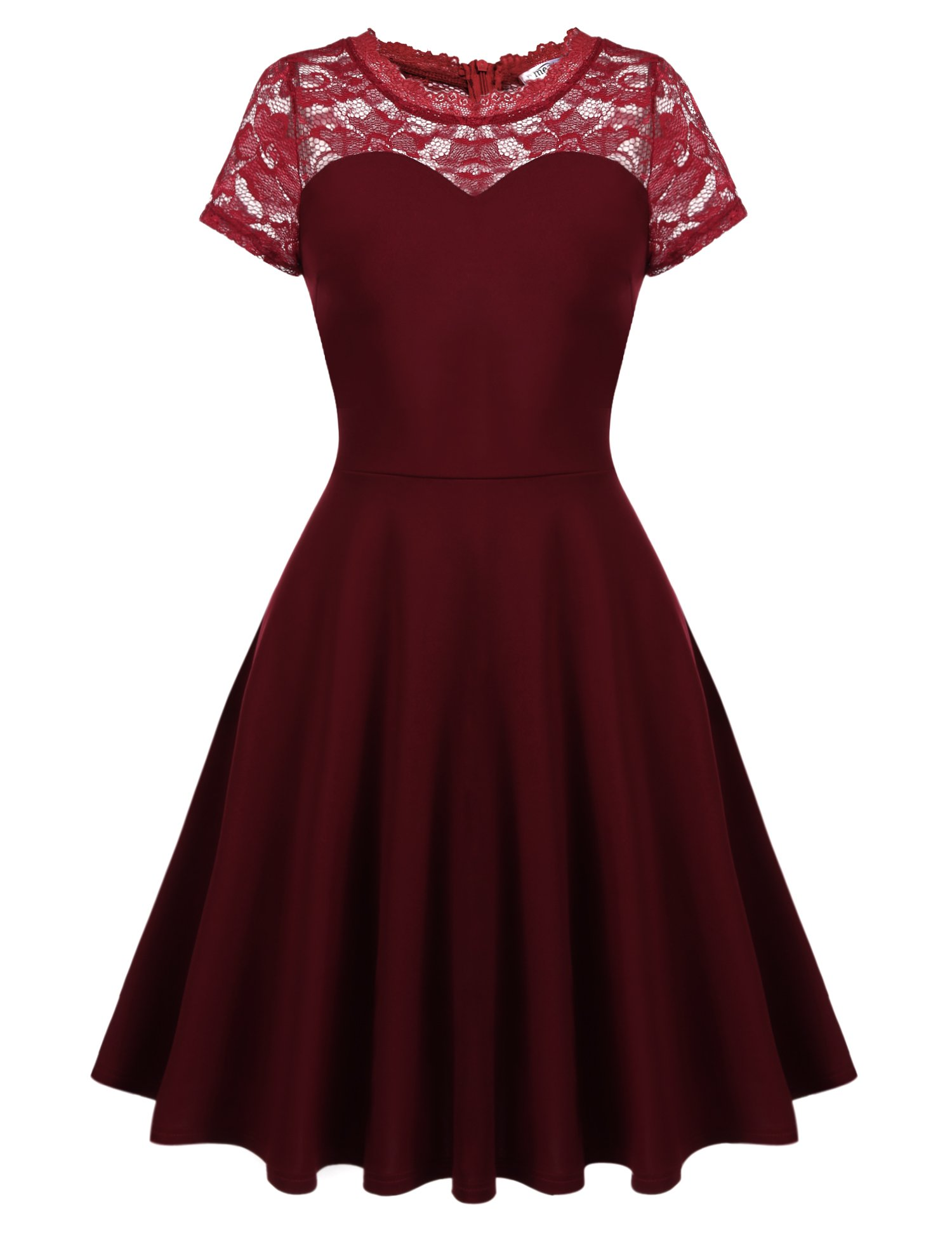 Meaneor Women's Vintage Floral Lace Contrast A-line Cocktail Swing Dress
