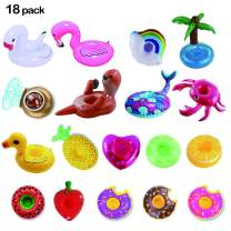 LKDEPO Inflatable Drink Holder 18 Pack, Floats Inflatable Cup Coasters for Summer Pool Party and Kids Fun Bath Toys (Newest Type Sea Lion and Mermaid)